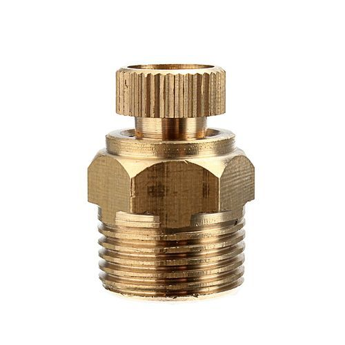 "Air Compressor Male Threaded Water Drain Valve Brass Tone PT 3/8"" Golden"