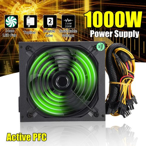 1000W PC Computer Power Supply 140mm Quiet LED Fan 24Pin SATA 6Pin 8Pin 80