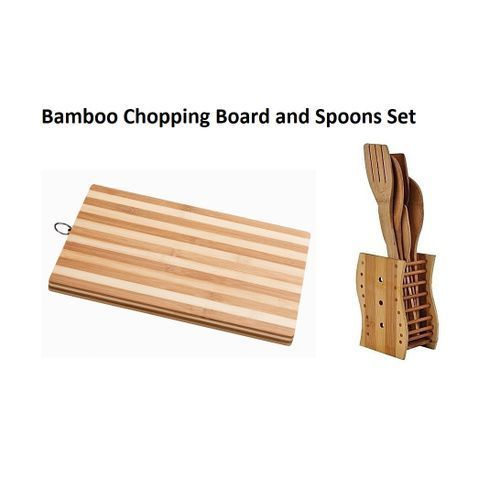 Wooden Cutting Chopping Board + Wooden Kitchen Spoons Set