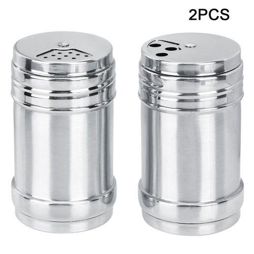 2pcs Household Kitchen Stainless Steel Spice Condiment Seasoning Jar Box For Salt Sugar