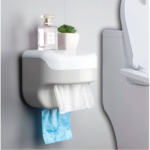 Adhesive Wall Mounted Toilet Paper Holders Bathroom Tissue Box Storage Container