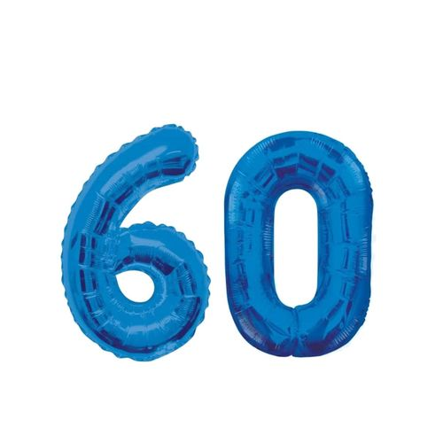 Number 60 Birthday Ballons - Blue