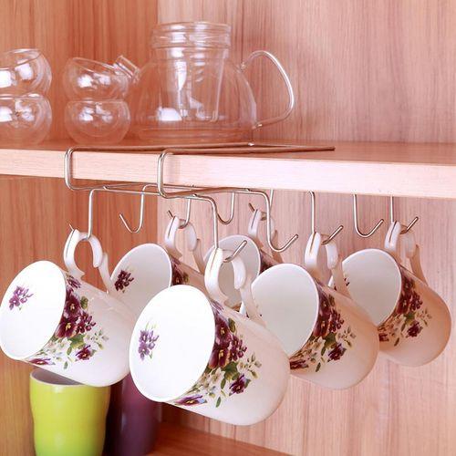 5PCS Mug Holder Coffee Tea Cup Rack Storage Kitchen Under Shelf Cabinet Hanger Hooks