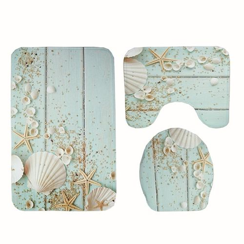 3Pcs Bathroom Carpet Non-slip Mat Lid Toilet Cover Bath Set Light Blue & White