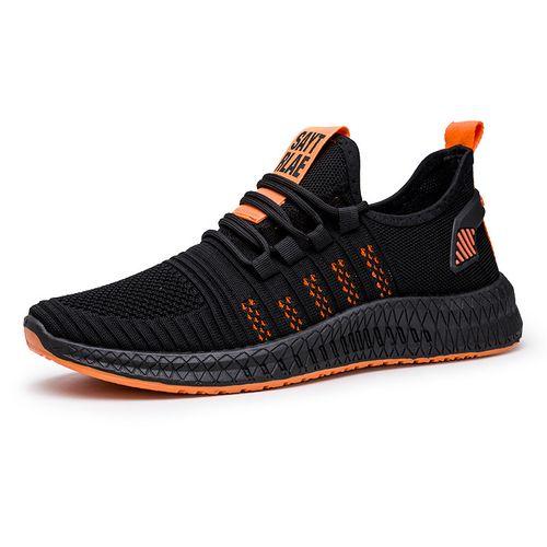 Men Sneakers Running Shoes-Black&Orange