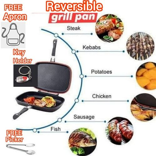 40cm Double Sided Reversible Barbecue Pressure Grill Fry Pan