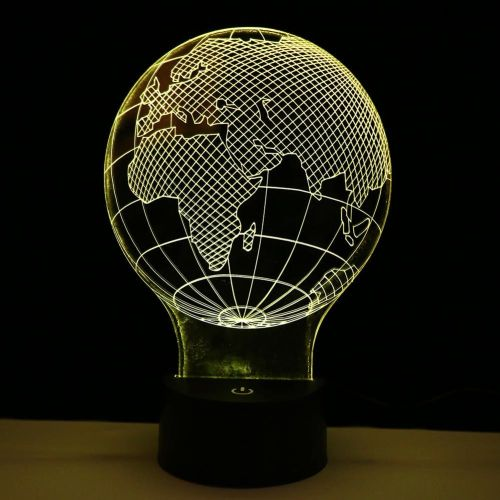 Creative 3D LED Switch Touchable Night Light 7 Color Changing Globe Shape Table Desk Decorative Lamp