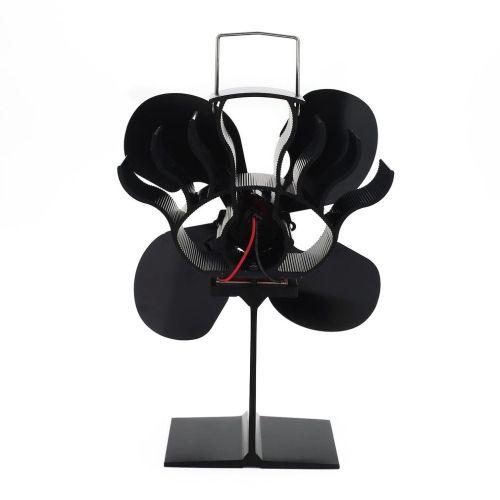 LyRay 4 Blade Eco-friendly Black Stove Fan Low Noise Home Fireplace Fan Efficient Heat Distribution