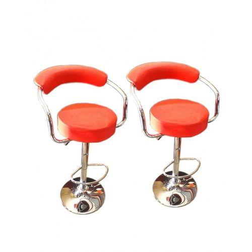 Red Chrome Bar Furniture Stool - Set Of 2