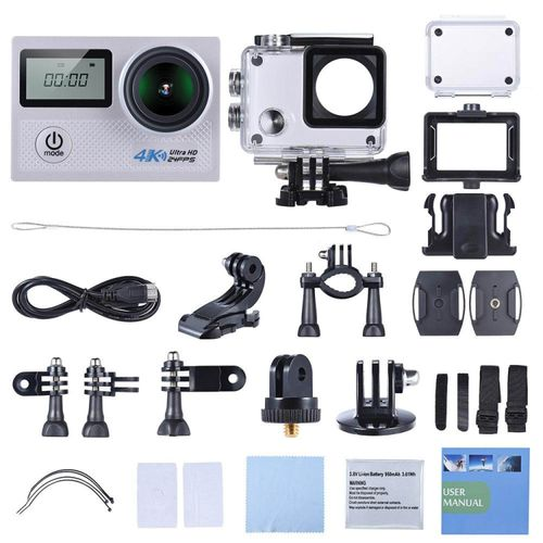 4K 24fps WiFi Sports Action Camera 20MP 1080P 60fps Gyroscope Anti-shake Support 5X Zoom Dual LCD Screen Waterproof 30m 170�Selectable Wide Angle Lens Car DVR Camcorder White