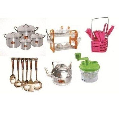 6 In 1 Kitchen Bundle Accessories,pot,kettle,kitchen Spoon Set,24pcs Spoon Set,tomato Blender,dish Rack
