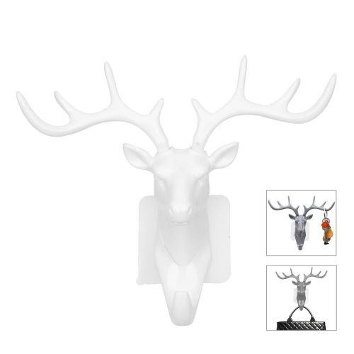 Self-Adhesive Deer Head Wall Door Hook Hanger-White