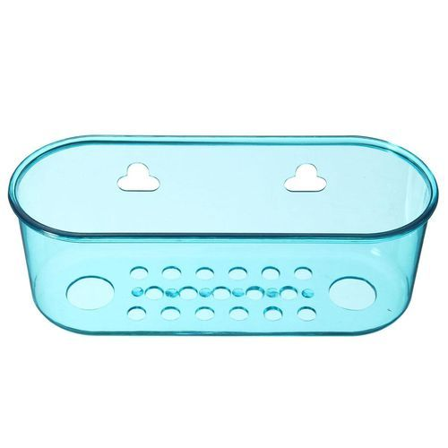 Spice Wall Holder Kitchen Sink Storage Rack Dish Holder Sponge Drain Basket Transparent Blue