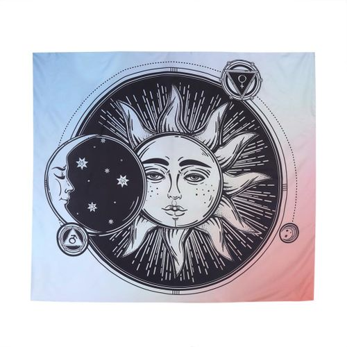 Psychedelic Sun And Moon Tapestry Wall Hanging Dorm Home Decor Beach Coverlet
