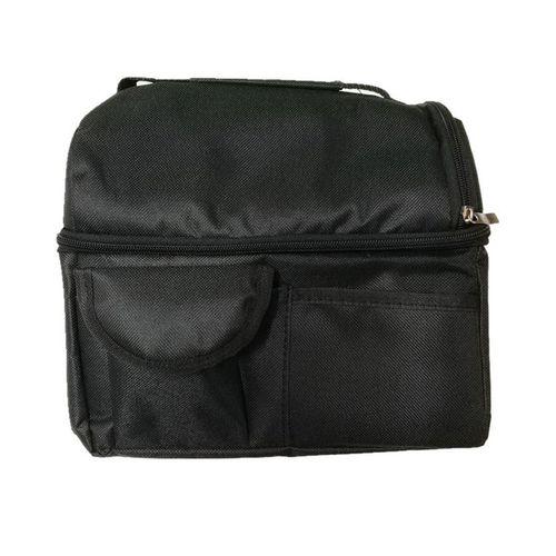 Portable Double Layer Thermal Insulation Bag Ice Bag Oxford Cloth Handbag Black