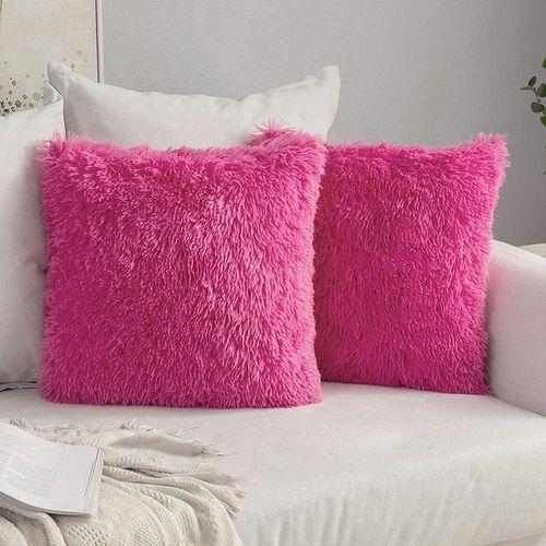 Fluffy Fur Throw Pillows (BLACK)-2pcs.