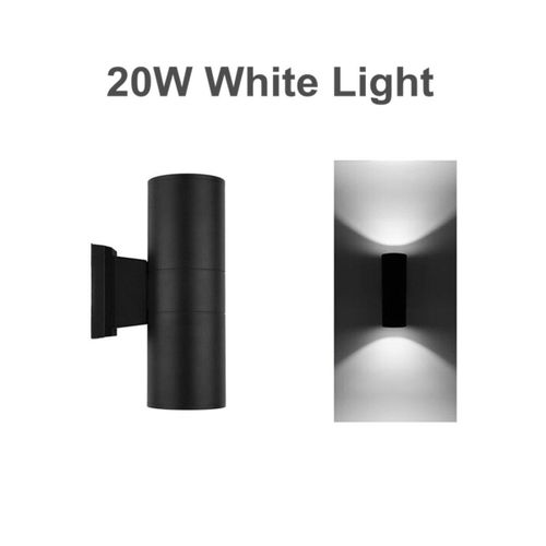 10W LED Dual-Head Up & Down Wall Light Sconce Lamp Outdoor Waterproof [20W White Light]