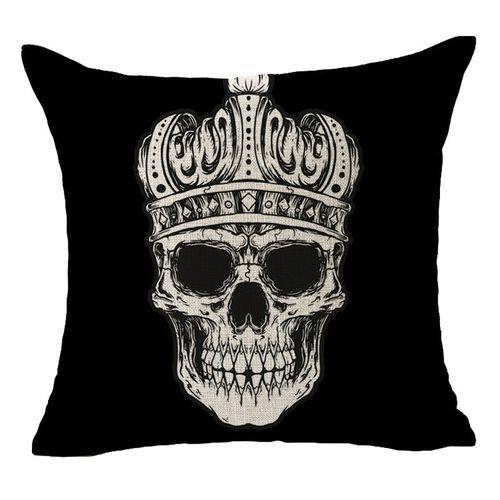 Houseworkhu Linen Cushion Covers Skull Printed For Sofa Decor Throw Pillow Case BK -Black