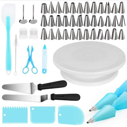 52Pcs Tool Cake Decorating Set Gift Kit Baking Supplies Turntable Spatula