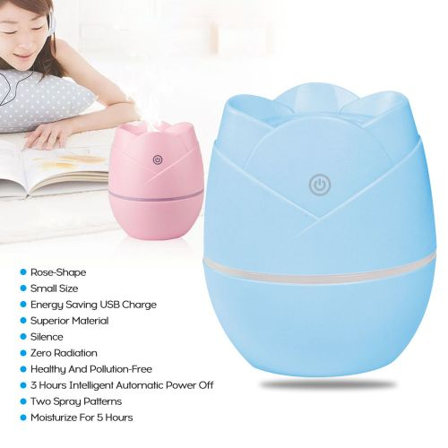 Rose Mini Humidifier USB Charge Car Portable Silent Bedroom-