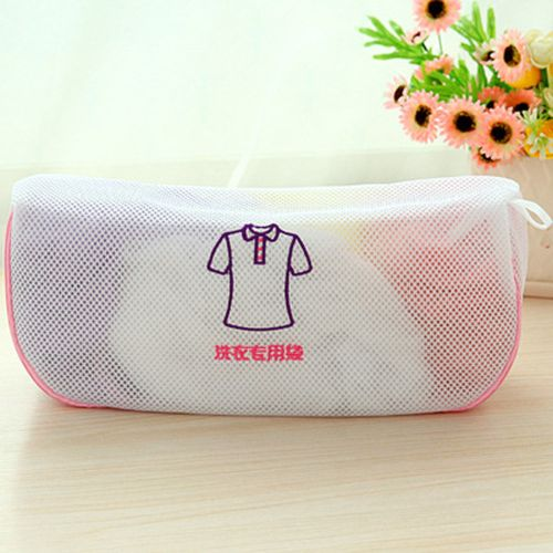 Thickening Double Mesh Layer Zipper Bag Laundry Clothes Protector Short Sleeve
