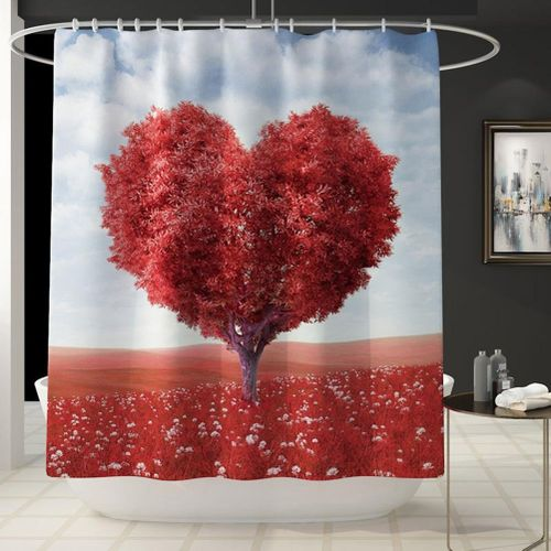 4 Piece Bathroom Mat Set Love Shape Tree Print Shower Curtain And Same Style Shower Mat Toilet Seat Cushion And Toilet Cover Pad
