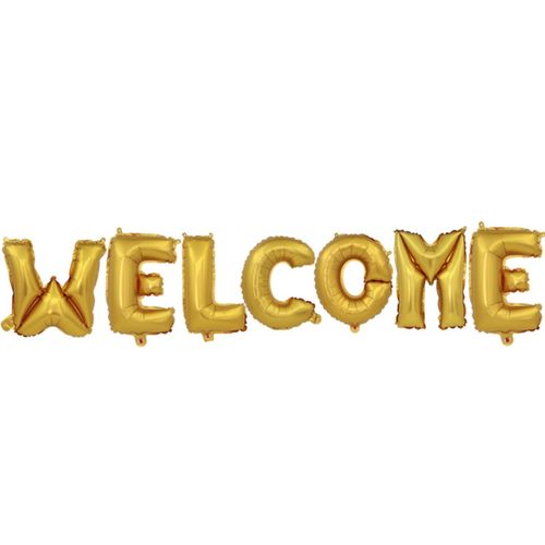 16 Inch Welcome Letter Balloon Set-GOLD