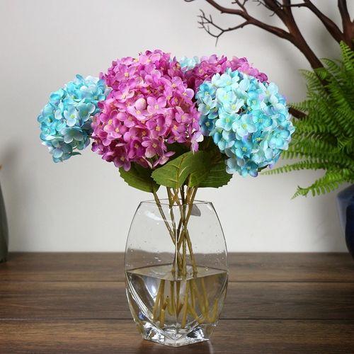 Artificial Hydrangea Silk Fake Flowers Wedding Bouquet With Leaf Bud For Home Weeding Decorations