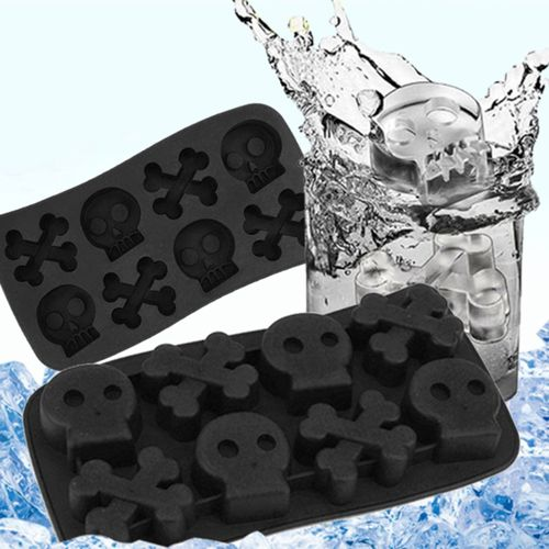Home-Silicone Mold Skull Shape Ice Cube Mold Candy Chocolate Cake Mold 8 Holes Black