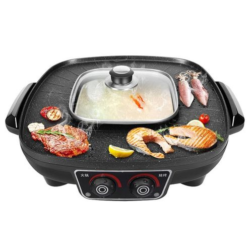 2in1 Electric Grill BBQ Teppanyaki Griddle Pan Steamboat Hot Pot Non-Stick Smoke