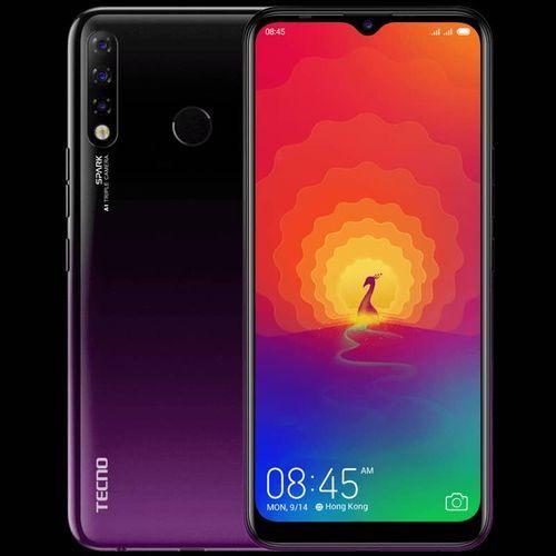 "Spark 4 (KC8) 6.52"" HD+ 2GB RAM + 32GB ROM, 13MP Triple AI Camera, Android 9, 4G, 4000mAh, Fingerprint & Face ID- Purple"