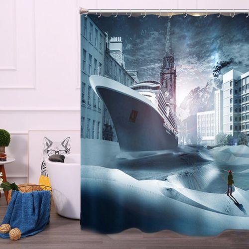 180x200cm Ocean Liner Cruise Ship Sea Waterproof Bathroom Shower Curtain+Hooks