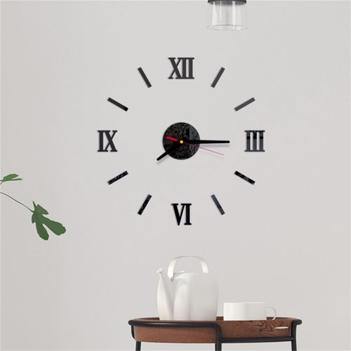 Checkeck 3D DIY Roman Numbers Acrylic Mirror Wall Sticker Clock Home Decor Mural Decals