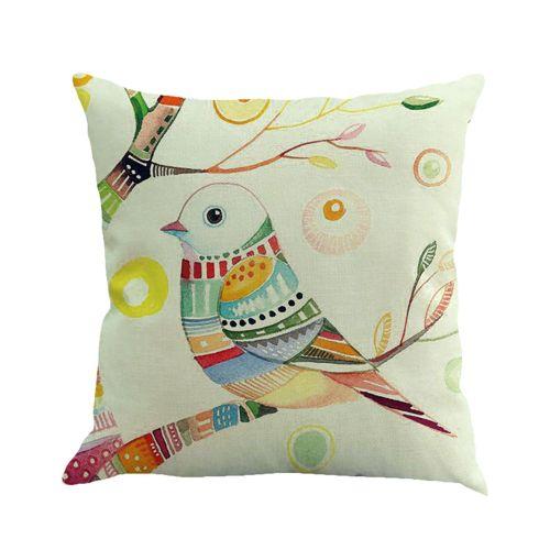 Whiskyky Store Branches Bird Linen Cushion Cover Throw Pillow Case Sofa Home Decor -White