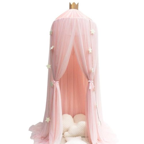 Hanging Kids Baby Bedding Dome Bed Canopy Cotton Mosquito Net Bedcover Curtain Pink