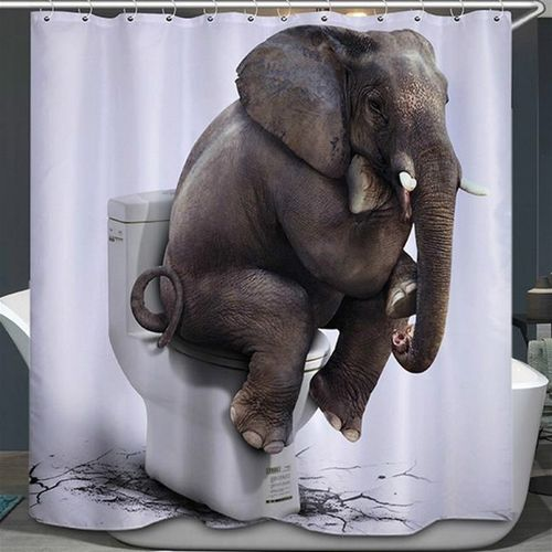 3D Water Cube Design Shower Curtain Bathroom Waterproof Fabric 71x71? Elephant