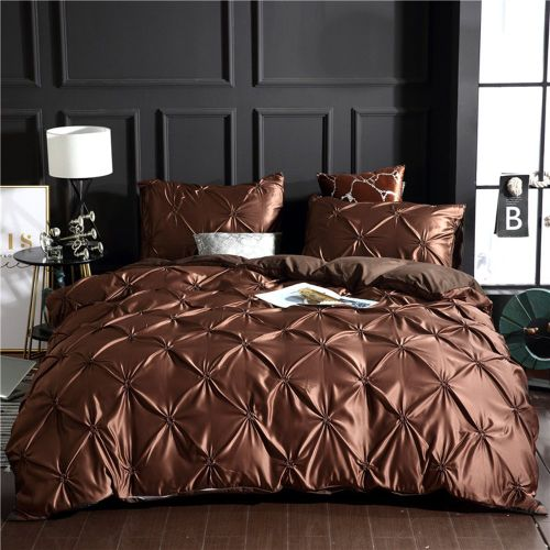 Bedding Set Simple European Bedding Three Pieces Suit For Home Or Hotel Dark Brown