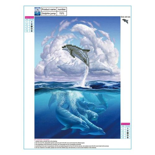 MT 3D Diamond Painting Jumping Dolphin Embroidery Rhinestone Painted Cross Stitch-Multi-color