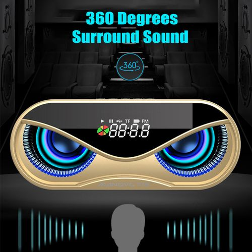 LED Digital Display Wireless Speaker Bluetooth 5.0 Surround Sound Bass Subwoofer Hands-free Sound Box Alarm Clock USB/TF/AUX/FM