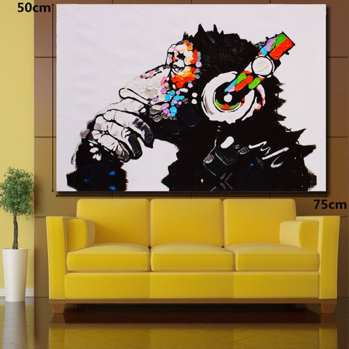 "30""x20"" Canvas Print Wall Art DJ MONKEY Chimp Painting"