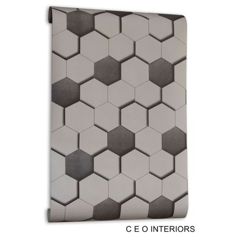 3d Hexagon Design Wall Paper For Home And Offices
