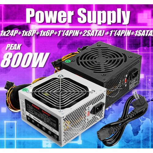 800W PC Power Supply 24 Pin PCI ATX SATA Computer 120mm Silent LED Cooling
