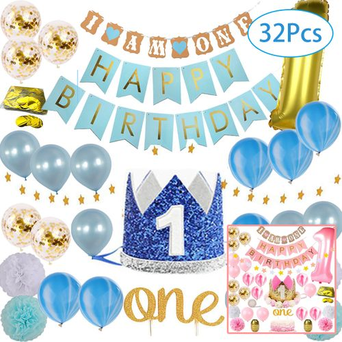 32PCS Latex Balloon Happy Birthday Party Baby Shower Crown Hat 1st Decoration