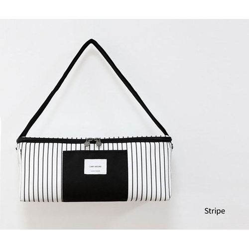 South Korea Simple Series Of Stripes Easy To Keep Cold Ice Bag, Single Shoulder Mummy Bag # White