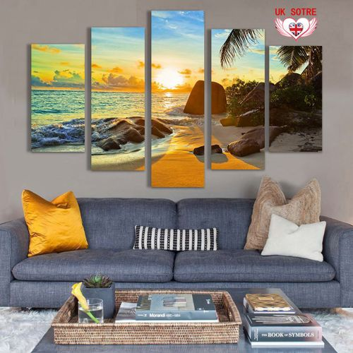 5Pcs Ocean Sunset Canvas Print Painting Unframed Wall Art Picture