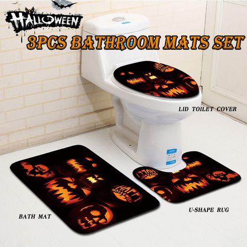 3PC Bathroom Non-Slip Pedestal Rug+Lid Toilet Cover+Bath Mat Set Halloween