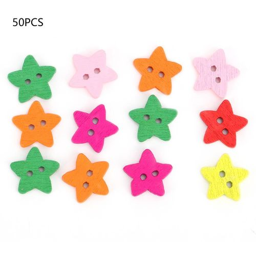 50Pcs 1.3CM Wood Buttons,Colorful Star Shape Wooden Buttons 2 Holes For DIY Crafting Sewing Sweater Overcoat Decoration Accessories