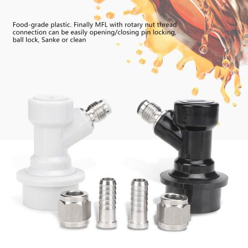 4PCS Threaded Ball Lock Keg Fittings Plastic Connector With Adapter Clamp