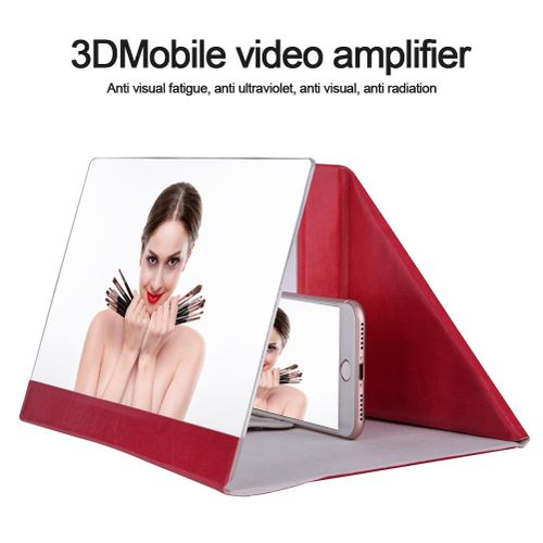 12 Inch PU Foldable Stand Screen Magnifier 3D HD Movie Video Amplifier For Cellphone (Rose Red)