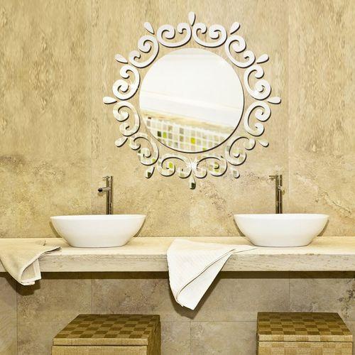 3D Wreath Silver DIY Shape Mirror Wall Stickers Home
